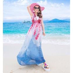 Đầm maxi voan họa tiết