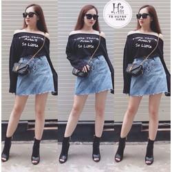 Set áo lệch vai + váy jean