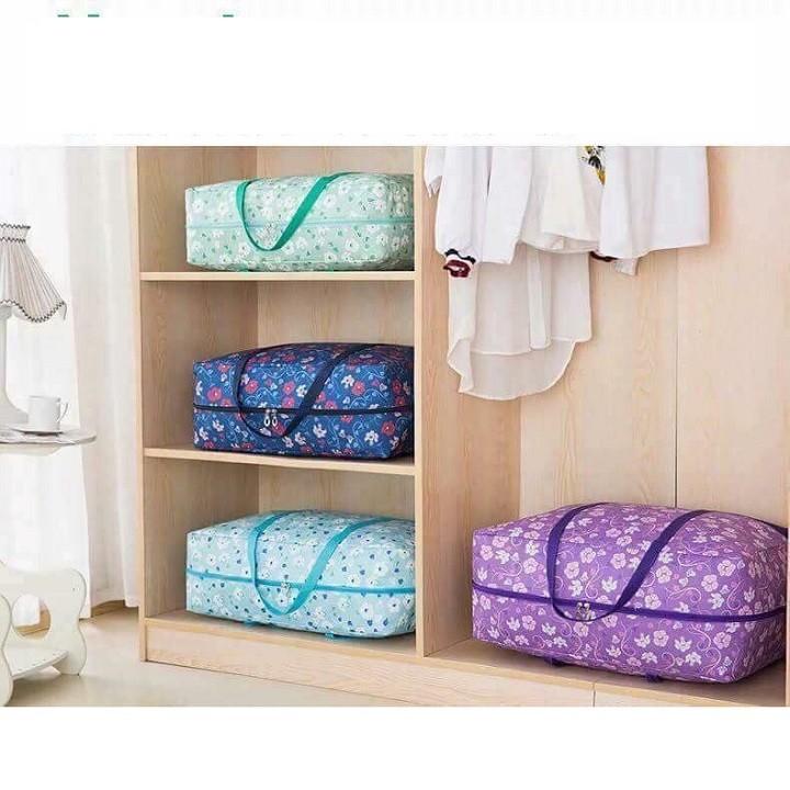 Set 3 túi đựng quần áo chăn màn vải họa tiết 1