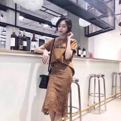 Set áo phông chân váy ren hàng Quảng Châu cao cấp