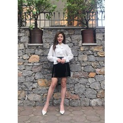 Set áo sơ mi và chân váy hàng Quảng Châu ảnh thật mẫu chụp