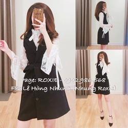 Sét đầm vest mix kèm áo nơ ên cổ điển nhưng cực style