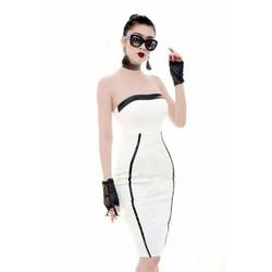 Đầm cúp ngực trắng viền đen