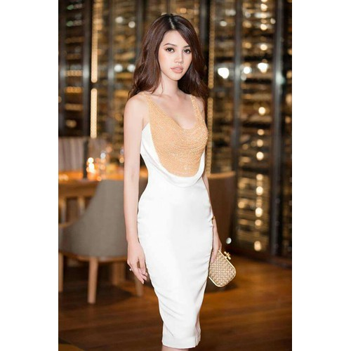 Đầm body cổ đổ ánh vàng