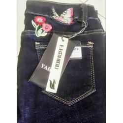 Quần Jeans Nữ Lưng Thêu Hoa