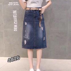Chân Váy Jean Thêu Hàng Nhập