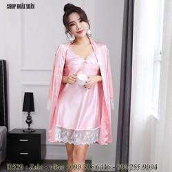 đầm ngủ kèm áo choàng phi lụa viền ren hàng xuất khẩu cao cấp - D529