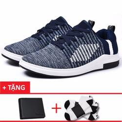 Giày thể thao nam dệt họa tiết đẹp+1 ví nam +1 đôi tất T1201XH