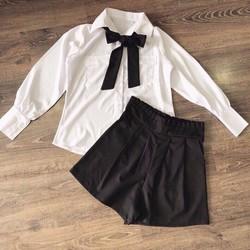 Set quần short chít lưng + áo sơ mi nơ
