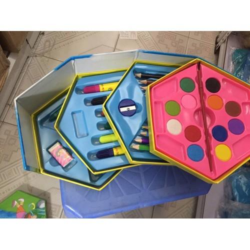 Hộp màu lục giác 4 tầng về nhiều hình kute