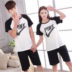 Đồ bộ short nam nữ couple Pink - DN002