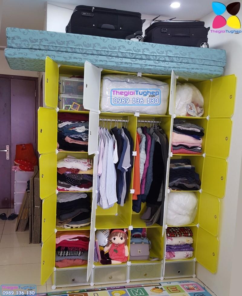 Tủ quần áo nhựa lắp ráp ghép thông minh đa năng 12 ô giá rẻ lá phong 1