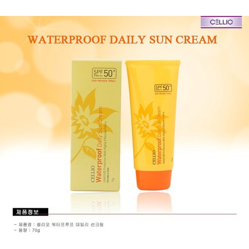 Kem chống nắng Cellio Waterproof Daily Sun Cream SPF50