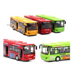 Xe ô tô buýt bằng sắt chạy cót Đồ chơi trẻ em city bus có âm thanh và đèn mở được cửa