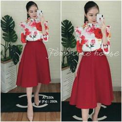 Set áo hoa phối váy tùng xòe _hàng thiết kế