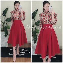 Sét áo và chân váy xoè đỏ