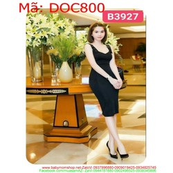 Đầm ôm body 2 dây đen ngọc trinh sang trọng DOC800
