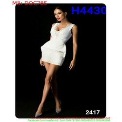 Đầm ôm body sát nách trắng phôi ren thời trang DOC785
