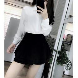 SET áo sơ mi trắng tay dài cổ phối nơ lưới đen quần váy