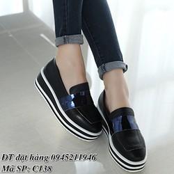 Giày Bánh Mì Nữ Đế Sọc Độn 5cm C138