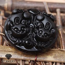 Mặt Dây Chuyền Tỳ Hưu Đôi Obsidian Chất Liệu Cao Cấp