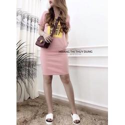 Đầm suông thun in chữ 2 túi