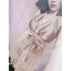 váy xòe màu nude hở lưng hình chụp thât
