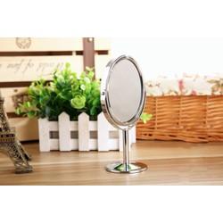 Gương Trang Điểm Mini 2 Mặt Phẳng Để Bàn - Oval