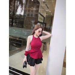 set Áo cổ yếm lọ lem chân váy xếp ly 2 màu đen, đỏ