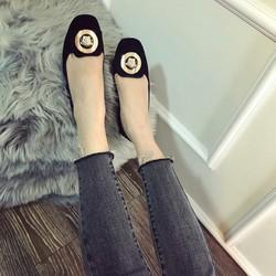 giày mọi nữ khóa chất da nhung mềm