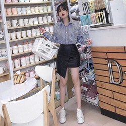 Set bộ áo sơ mi sọc + chân váy da cực xinh - hàng thiết kế