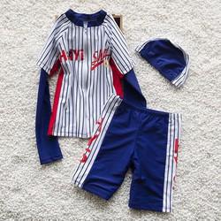 Set áo bơi tay dài chống nắng, quần bơi kèm nón sọc thể thao bé trai