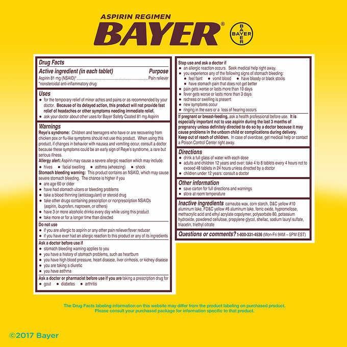 Viên uống Bayer® Low Dose Aspirin 81 mg, 400 viên 4