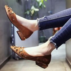 Giày cao gót bít mũi cao 3 phân S1072 Nâu
