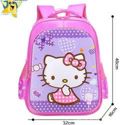 Balo hoạt hình 3d in kitty chấm bi tím hồng cho bé tiểu học