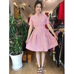 Váy kẻ chun eo cổ tàu hàng đẹp về sẵn tại shop