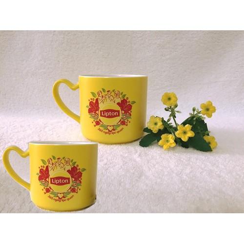 2 ly sứ có quai, tách trà sứ màu vàng 350ml cao cấp Dongwha. v748