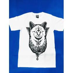 Áo thun Thái Lan trắng in 3D mèo Ai Cập đen cute T0206