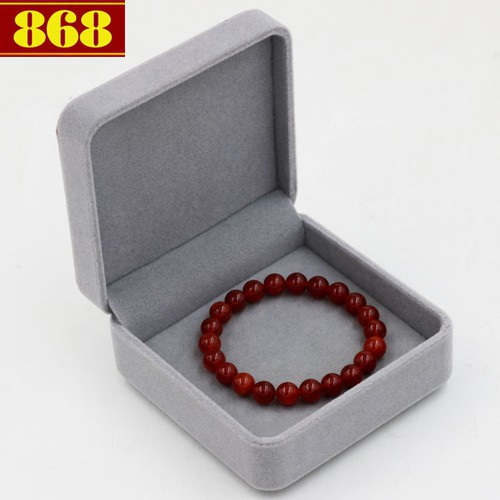 Vòng tay vân rồng đỏ 8 ly 22 hạt hộp nhung