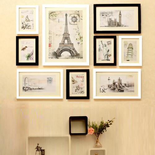 Khung tranh gỗ-kệ treo tường-combo 3 sản phẩm