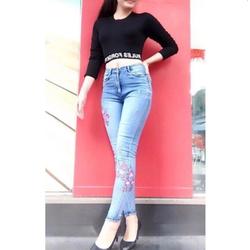 Quần jeans nữ thêu hoa lưng cao hàng cao cấp có Bigsize