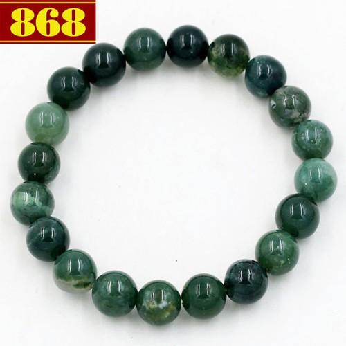Vòng tay đá cẩm thạch xanh đậm 8 ly 20 hạt