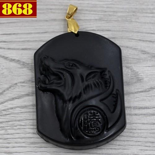 Mặt dây chuyền chó sói 5.3 cm đen CS1