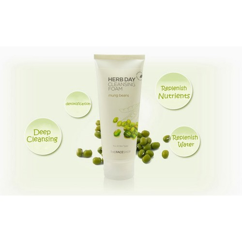 Sữa Rửa Mặt TheFaceShop Herbday 365  #MungBean- Đậu xanh
