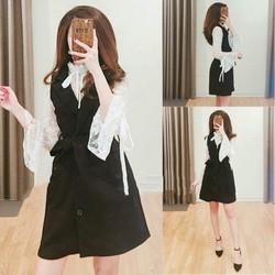 Set đầm vest phối áo ren siêu đẹp