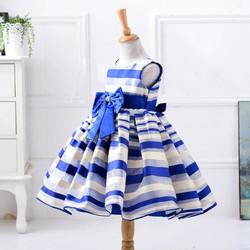Đầm xòe sọc xanh đi tiệc cho bé gái