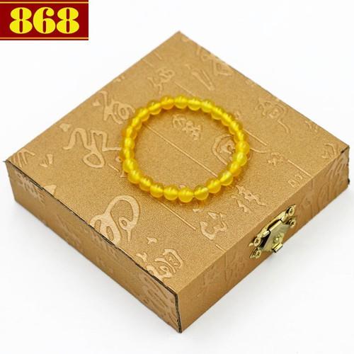 Vòng đeo tay hoàng ngọc 6 ly 26 hạt hộp gỗ