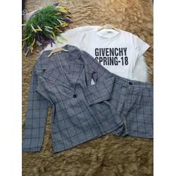 Sét bộ 3 món áo vest - quần sort sọc - áo thun in chữ - kèm ảnh thật