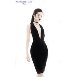 Đầm Ôm Body Kiểu Cổ Yếm Khoét Ngực Sâu Hở Lưng