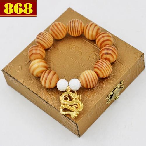 Vòng đeo tay gỗ huyết rồng 18 ly cẩn rồng vàng A524 hộp gỗ